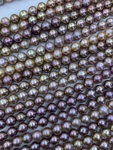 off round natural freshwater multicolor pearls necklace color pearls for crafts 10-13mm