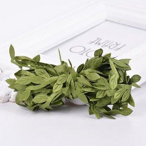 2 개 인공 포도 나무 잎 장식 등나무 잎 질 잔디 가짜 식물 코드 홈 웨딩 크리스마스 장식을 위해 문자열 잎