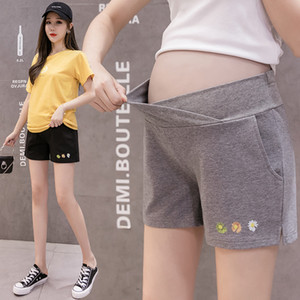 983# Maternity Leisure Pants summer Low Waist Fashion Shorts Elastic Waist for Pregnant Women Belly Support Pants