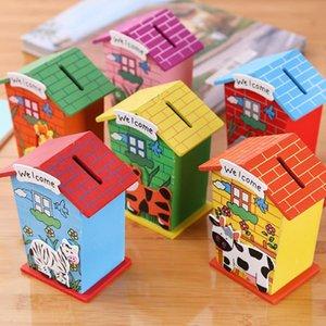 Wood Chalet Money Box Копилка Творческий животных мультфильм дом комната Деньги Коробки Дети Детские игрушки Монеты Сохранение Box