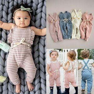 2019 Neugeborenes Baby Boy Romper Backless Streifen Rüsche Lange Sleelve Overalls Overall Kleinkind- Kleidung E19231
