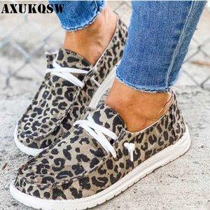 Été Femmes Flats Respirant Chaussures Casual Lace Up Canvas Taille Mocassins Student Fille dames Chaussures de sport imprimé léopard Chaussures de marche