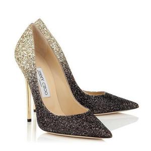 Великолепная Кристалл Свадьба Свадебной обуви Rhinestone принцесса Красного Серебро Красочная Формальная обувь партия Пром Остроконечные Toe Женщина Насосы