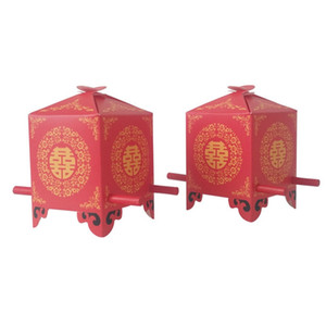 Candy Box Estilo Asian Chinese Red Double Happiness Sedan favor do casamento Chair Gift Box 50PCS / lot Party Favor