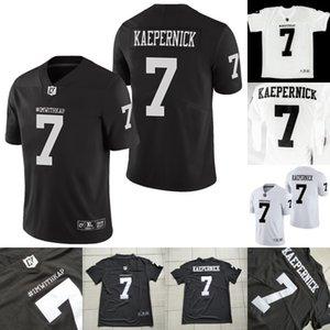 Mens IMWITHKAP Jersey 7 Colin Kaepernick IM COM KAP 100% costurado Football Filme Jersey Black White EM ESTOQUE Transporte rápido S-XXXL