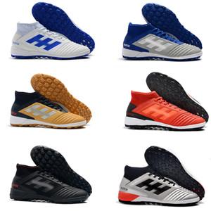 De calidad superior Negro Blanco Acelere Paquete Messi Fútbol Botas 100% original ACE Tango 17+ Purecontrol TF / IC Indoor Soccer Shoes Kids