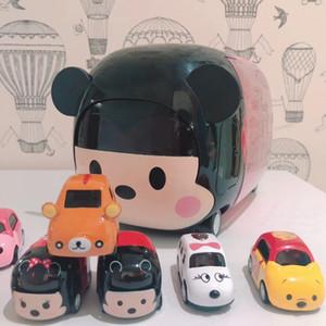 Modelo de juguete de dibujos animados de coches, ratón lindo, gato, perro del oso, uno grande con 9 mini coche, 10 piezas Set, Adorno para la fiesta de Navidad del regalo del cabrito cumpleaños, Recogida
