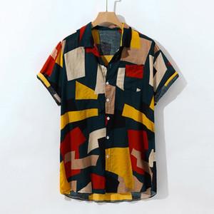 Cotone Camicia hawaiana Uomini gira giù stampa geometrica estate camice 2019 casual Streetwear Uomo Abbigliamento Camisa Masculina