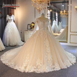 2020 Chamagne Spitze Ballkleid Brautkleider Muslim lange Ärmel Open Back Plus Size Brautkleid Reale Abbildungen