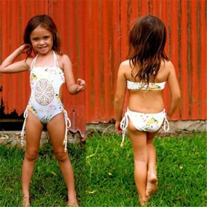 Çocuk Kız Bebek Çocuk Splice Hollow Net Mayo Bandaj Bikini One Piece Mayo Mayo Yüzme Kıyafetler