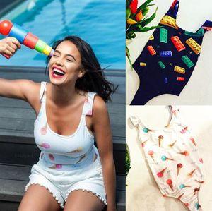 Summer New print badysuit Lovely Ice cream bathingsuit 2018 caliente de una pieza Bloques de construcción de alta calidad traje de baño push up traje de baño