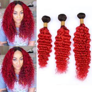 # 1B Красный Ombre человеческих волос Пучки Deep Wave Virgin Ombre Плетение волос ярко-красный Ombre глубокая волна завитые бразильский человеческих волос 3шт