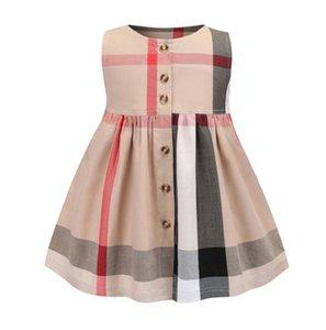 Children's Clothes Child's Skirt Large Pocket Sleeveless Girl Cotton Material Dress 020303