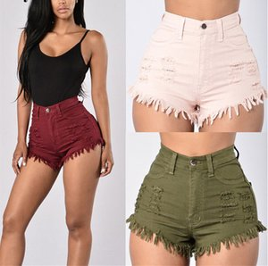 Damen High Waist Denim Shorts Sommer reizvoller dünner Stretch Solid Color Haar Whiskers Famale Shorts