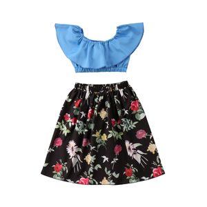 Caçoa a menina roupas de verão Define Festa de aniversário das meninas Floral Sundress férias Prom 2PCS shirt + Saias Outfit