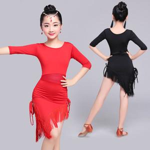 Songyuexia Mid Long Sleeve Lace Mesh Mordern Ballroom Dancing Dresses For Kids Sexy Salsa Tango Skirt Children Latin Dance Dress