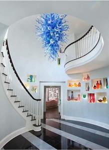 Популярные Дешевые Синий и белый Современные люстры LED Saving Источник света Чихули стекла Свадьба Потолочный светильник
