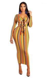 Moda saia oco Out Party Neck Lace-Up Striped Impresso Mid-Calf Vestidos Holiday Beach Roupa Sexy V