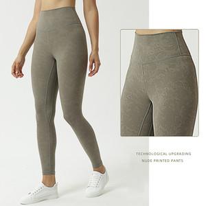 pantaloni di yoga per le ghette signora sport alti della vita delle donne del mondo yoga all'aperto collant casuale donne vestiti di yoga nudo stampato i pantaloni L-066