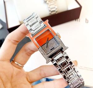 H Form Viereck Luxuxfrauen Kleid Uhren eleganten Edelstahl-Rose Gold Uhren Qualitäts-Dame Strass-Quarz-Armbanduhr