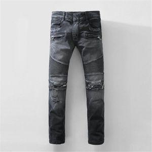 HOT 2020 New Mens Distressed Ripped Biker Mens Luxury Designer Jeans Slim Fit Motorcycle Biker Denim For Men fear of god