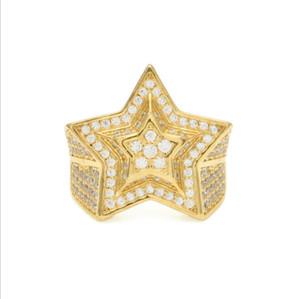 힙합 Five pointed star 링 아이언 아웃 링 마이크로 파브 큐빅 지르콘 약속 다이아몬드 핑거 링 럭셔리 디자이너 브랜드 개성 선물