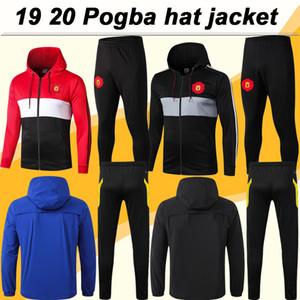 19 20 Pogba RASHFORD full zip Cappello abito giacca pullover di calcio Lingard MARZIALI Mens Windbreaker di calcio camice MATA MATIC CARRICK Pant
