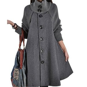 New Women's Mid Long Single Breasted Cowl Neck Loose Woolen Cloak Coat