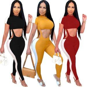women's jumpsuit romper thread hole solid color cute belt pants set T200707