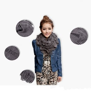 Warm Knitted scarf Layered Fringe Tassel scarf Neck Circle Shawl Scarf Cowl Girl Solid Long Soft Winter Scarves