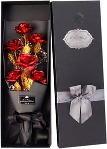 24k ouro Rosas, banhado a ouro de Rosa para sempre Presentes para ela presente de aniversário dia do aniversário do dia do casamento mães dos Namorados