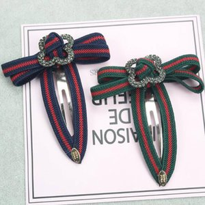 Retro Fashion Red Green Striped Bowknot Barrettes Pearl Crystal Four Leaf Clover Bobby Pins Hair Clips Women Hair Jewelry
