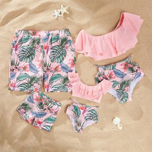 Family matching swimming girls falbala dew shoulder split swimsuits kids bikini women floral leaves printed swimwear boys swim trunks F6473