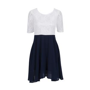 2020 여름 패션 여성 화이트 블루 반소매 크루 넥 레이스 쉬폰 벨트 드레스 여성 캐주얼 - 라인 드레스