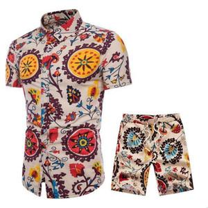 Sportsuits Homens de Linho de Verão Respirável Curto Set Men 's Design Moda Camisas + Shorts Treino Conjunto de Tendências Estilo Novo M-5XL