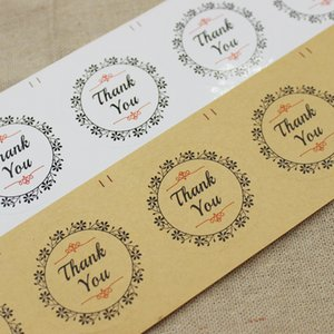 wholesale1000pcs 3.8cm kraft  white paper adhesive thank you seal lables custom logo cost extra adhesive seal lable with flower