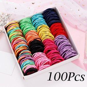 50 / 100pcs / lot Saç bantları Kız Candy Renk Naylon Elastik Kauçuk Bant Saç bandı Çocuk Bebek Kafa Scrunchie Aksesuarları