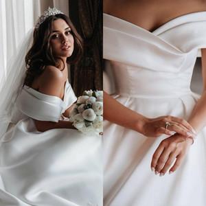 Custom Made Elegant Ivory Satin Wedding Dresses 2020 A Line Satin Bridal Gowns Off the Shoulder Wedding Gowns Free Veil Vestido De Novia
