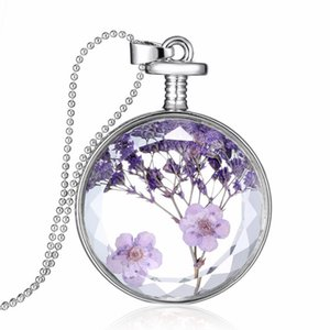 Januarysnow Natural Real Red Decorative Dried Flowers Necklace Pendant Dry Flower Plants Jewelry Heart Metal Glass Necklace Drop Shipping
