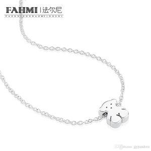 FAHMI 100% 925 Sterling Silver 015904510 Urso Bonito Simples Jóias Magro E Delicado Pingente de Colar Original das Mulheres de Jóias