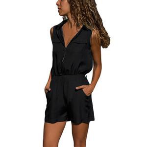 Rompers bayan tulum dantel uzun pantolon Kadın Elastik Bel Rahat Kolsuz Fermuarlı Şort Genel Tulum Tulum D300503