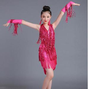 Sequins Top Sale Latin Dance Dresses For Girls Blue Lace Club Party Dancer Singer Entertainer Fringe Tassel Rose Dress child 160