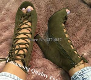 Linamong estilo occidental peep toe de cuero de gamuza grueso tacón corto Gladiador Botas con cordones verdes del ejército del grueso del tobillo botines de tacón alto