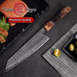8.2 Polegada Damasco Faca De Cozinha Feitos À Mão Do Chef Faca VG10 Japonês Damasco Aço Kiritsuke Faca De Cozinha Caixa De Presente Grandsharp