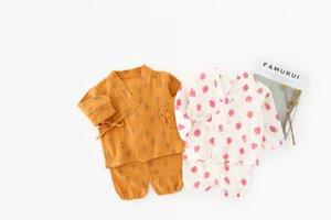 Bebek Kız Giyim Çocuk Bahar Güz Uzun Kollu Cartoo Baskı tasarım gömlek + pantolon Ev giyim setleri pring prenses giyim setleri