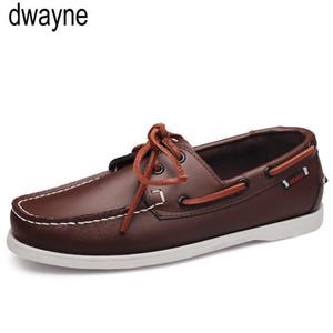 Brand Design de costura Mão Deslizamento-On Mens Loafers Casual Driving Mocassins homens de negócios sapatos de couro Genuine homens do barco Shoes