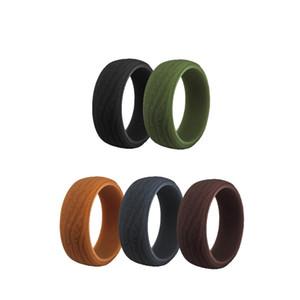 dos homens silicone banda Anéis 8,7 milímetros Casca de árvore Anéis de borracha flexível Silicone Ring Wedding Bands Rustic 5 Cores