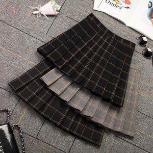 2019 New Womens A Line Fall Winter Skirt High Waist Folded Skirt A Line Above Knee Length Skirt Drop Shipping