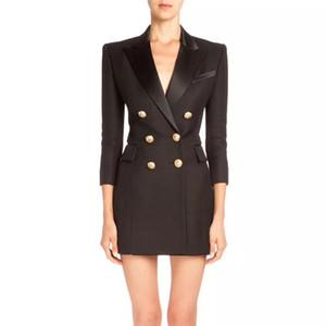 2020 Yeni Kadın Tasarımcı Casual Büro Seksi Coat Giyim Ekose Parti Çalışması İş Elbise Balmain Düğmesi Balmain