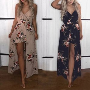 Bohemia Split Long Maxi Dress Womens Rose Printed Boho Beach Shorts Irregular Hem Party Dresses Y200623